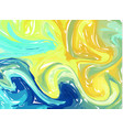 blue yellow abstract background ink marbling vector image