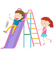 Boy and girl playing on the slide vector image