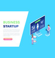business startup monitor with rocket website vector image