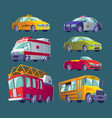 Cartoon set of isolated icons of urban transport