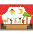 Children Actors Performing Fairy-Tale On Stage On vector image vector image