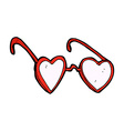 comic cartoon heart glasses vector image vector image