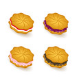 cookies colored icons set vector image vector image