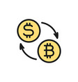 cryptocurrency exchange bitcoin coin with dollar vector image