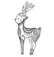 Cute cartoon deer with boho pattern linear