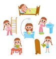 daily morning routine set cartoon little girl vector image