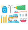dentist doctor character and stomatology equipment vector image vector image