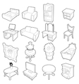 Different furniture icons set outline style vector image vector image