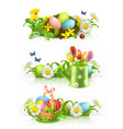easter spring flowers 3d banner set vector image