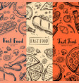 fast food menu card set with hand drawn doodles vector image