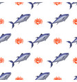 fish and crab seamless pattern vector image