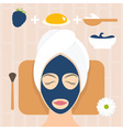Flat design woman in natural mask of yogurt egg vector image