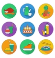 flat icons of food and drinks vector image