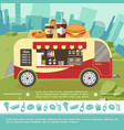 flat street food colorful template vector image vector image