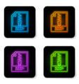 glowing neon zip file document icon download zip vector image vector image