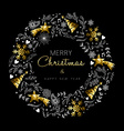 Gold Christmas and New Year wreath decoration vector image vector image