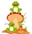happy frog cartoon sitting on mushroom vector image vector image