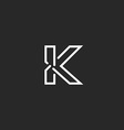 K letter mockup logo black and white thin line vector image
