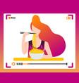 korean girl making mukbang eating video in social vector image