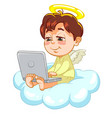 little baby angel with laptop vector image vector image