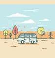 minivan and in the autumnal forest vector image vector image