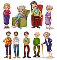 Old men and women in different actions vector image
