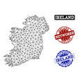 polygonal network mesh map of ireland vector image vector image