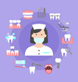 poster with icons of dental clinic services vector image vector image