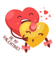 red boy heart is licking yellow girl hear vector image