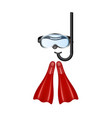 retro diving goggles with red flippers vector image vector image