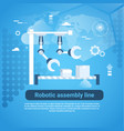 robotic assembly line web banner with copy space vector image