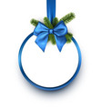 round christmas background with blue bow vector image vector image
