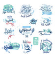 Seafood hand drawn watercolor labels and elements