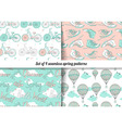 Set of 4 vintage spring pattern vector image vector image