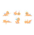 set of cute newborn babies in different action vector image vector image