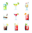 set of nine tropical cocktails mojito margarita vector image vector image