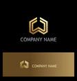 shape geometry gold company logo vector image