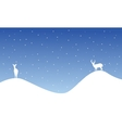Silhouette of reindeer on hill scenery vector image vector image