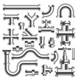 silver tubes and pipeline details with cranes set vector image