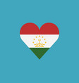 tajikistan flag icon in a heart shape in flat vector image vector image