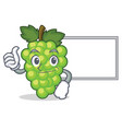 thumbs up with board green grapes character vector image vector image