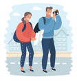 tourists with map and camera vector image vector image