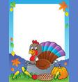 turkey bird in pan theme frame 1 vector image vector image