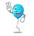 two finger blue balloon character on the rope vector image