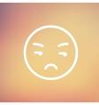 Unhappy face thin line icon vector image vector image