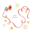 watercolor christmas card with red ribbon vector image