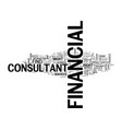 when to use a financial consultant text word vector image vector image
