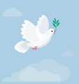 white dove holding olive branch flat style vector image
