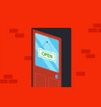 wooden door with a sign open vector image vector image