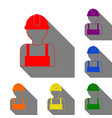 worker sign set of red orange yellow green vector image